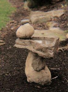 Zen Birdbath For The Garden Outdoors Cast Stone Balancing Rocks