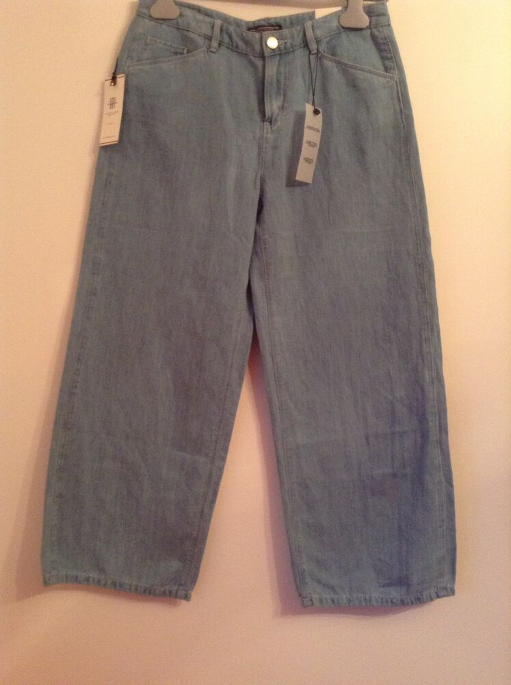 Bnwt 100% Auth Tommy Hilfiger 3/4 Crop Jambe Large Léger Jeans 26/30 Rrp £ 140
