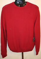 Mens Saddlebred Red Cotton Crew Neck Long Sleeve Sweater Size Large