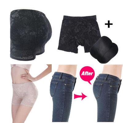 De mujer Floral Negro lado Potenciador de cadera acolchado Bum Butt pantalón hasta las nalgas 0190
