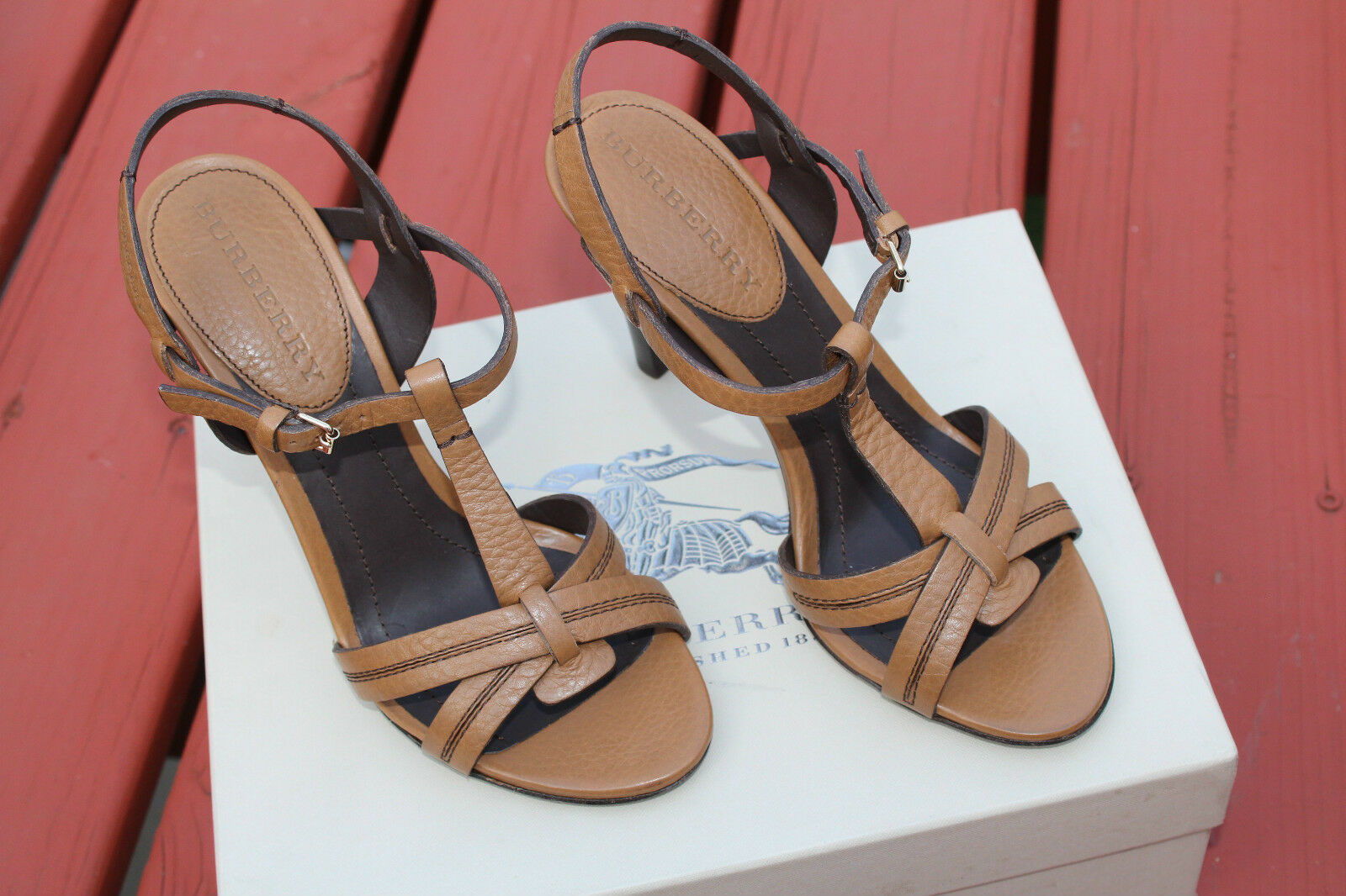 BURBERRY ULSTER BROWN  LEATHER PEEP TOE SANDAL  11us  479