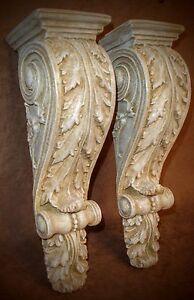 Antique-Finish-Shelf-Acanthus-leaf-Wall-Corbel-Sconce-Bracket-Home-Decor-Pair