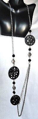 Necklace & Earring set Black carved Medallions & Black beads Fashion Jewelry NWT