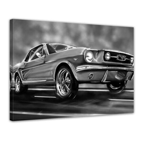 Imagen del lienzo-Mustang graphic-negro blanco
