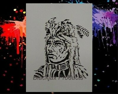 Indian Medicine man 01 Airbrush Stencil, Template
