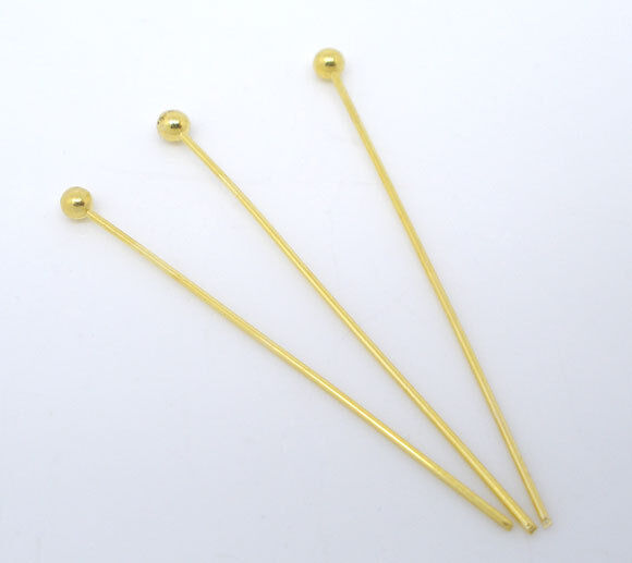 1000PCs Gold Plated Ball Head Pins 0.5x30mm Findings