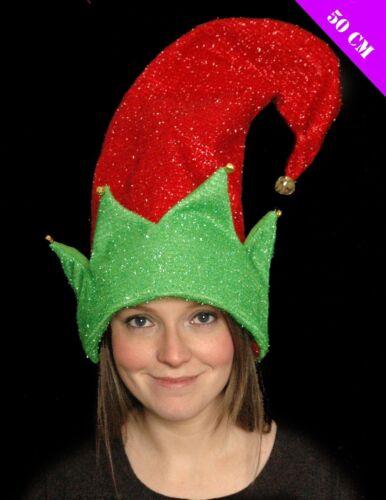 Adulto Elfo gigante CAPPELLO ROSSO VERDE 50cm Natale Luccicante Natale Novità Funky Vestito