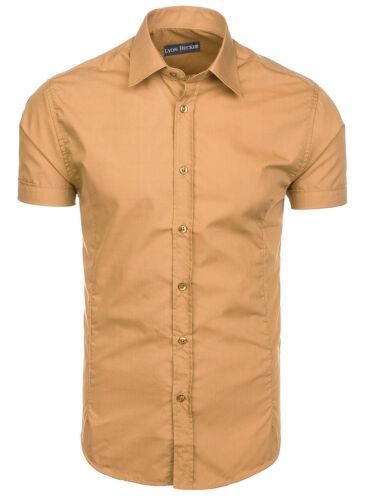 Da Uomo Manica corta Camicie Casual Formale Slim Fit Camicia Top S M L XL PS05