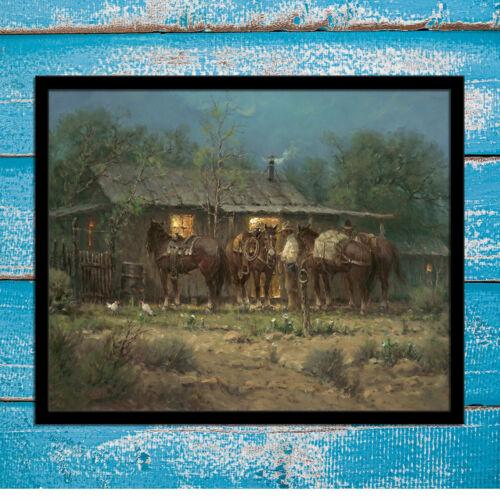 A Western Cowboy Horse Home Decor 12x16 Canvas Art Print Painting Harvey Jones
