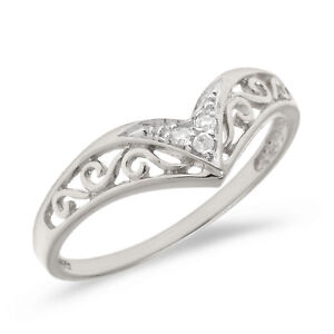 10K-White-Gold-Filigree-Band-Diamond-Chevron-Ring-Size-4-5