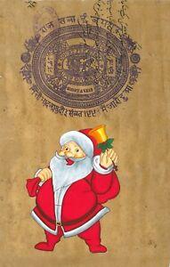 Santa-Claus-Christmas-Painting-Handmade-Indian-Miniature-Xmas-Holiday-Folk-Art