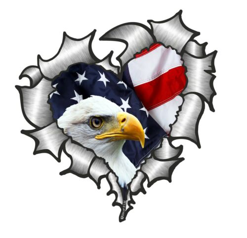 HEART Shape Ripped Metal Rip /& American Eagle US Flag Vinyl car sticker decal