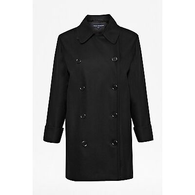 FRENCH CONNECTION BLACK DOUBLE-BREASTED WOOL COAT SIZE UK 10,12 RRP £220