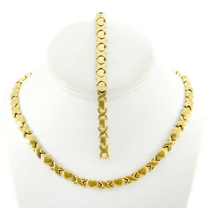 Hugs-and-Kisses-Necklace-Stampato-Set-Stainless-Steel-Gold-Plated-18-039-039-Bracelet