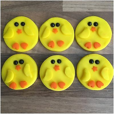 6 Edible EASTER CHICKS Yellow Sugar Cake Decorations  Cupcake Toppers Cute Party