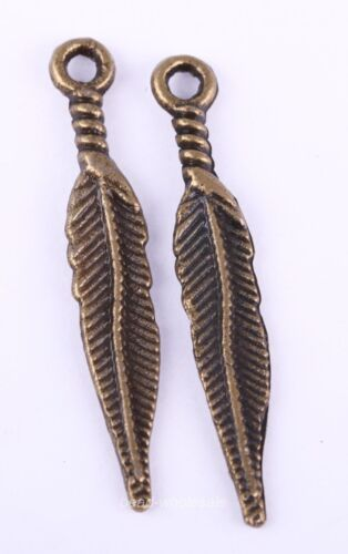 20Pcs Tibetan Silver Long Feather Leaf Shape Charms Pendants Findigs,29x5mm