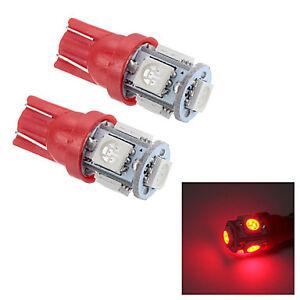 2-BOMBILLAS-LED-COCHE-T-10-W5W-5-SMD-12V-LUZ-ROJA-RED-TIPO-XENON-T10