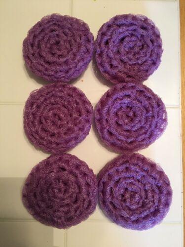 6 Lavender//lilac Purple NYLON NET POT SCRUBBIES -