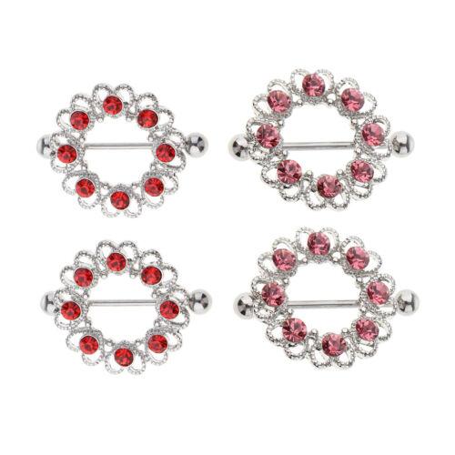 2pcs Fancy Crystal Love Hearts Shield Nipple Ring Barbell Straight Ring 16g
