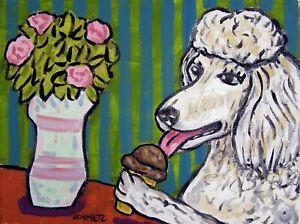 white standard poodle art  poster dog gift modern folk pop 4x6    GLOSSY PRINT