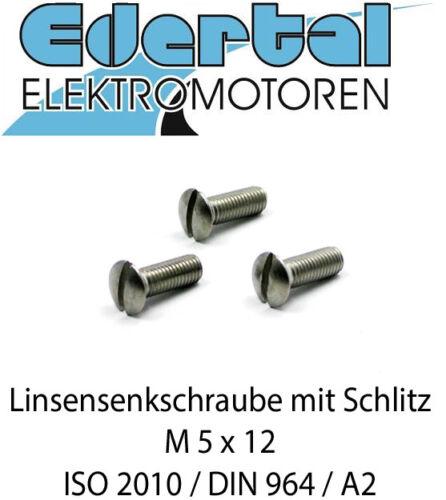 DIN 964 Edelstahl M5 x 12 Linsensenkschraube ISO 2010 A2 mit Schlitz