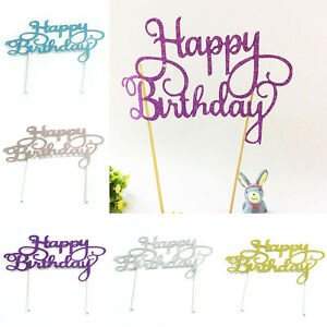 HAPPY-BIRTHDAY-Cake-Pick-Topper-Sparkly-Glitter-Decor-Party-Favour-Gift-DIY