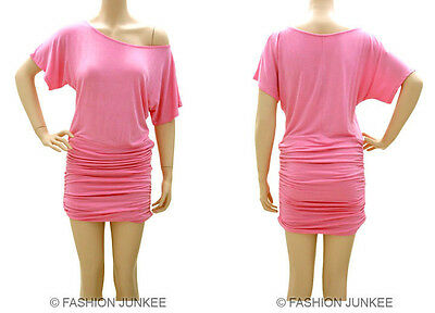 C3 PINK RUCHED OFF the shoulder DRESS Short Sleeve Jersey Tunic Top XL 2XL 3XL