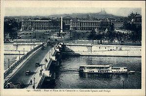 PARIS-France-CPA-1910-Schiff-passiert-die-Bruecke-Autos-Place-Pont-Concorde