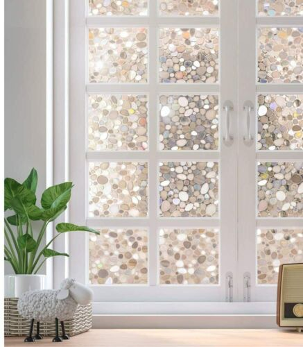 """Rabbitgoo Home Window Film Privacy Static Cling Stained Glass Film 17.5/""""x78.7/"""""""
