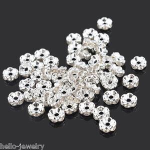 100-Neu-Versilbert-Rondell-Spacer-Perlen-Beads-6mm