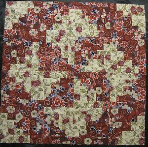 "16 PRE-CUT Log Cabin Quilt Top Blocks {Kit} (8.5"") -Patchwork- ""Burgundy Garden"""