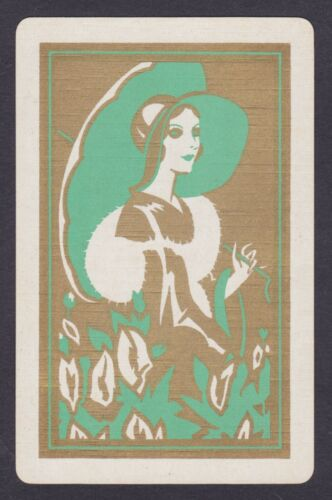 1 Single VINTAGE Swap//Playing Card DECO LADY GARDEN STROLL HAT PARASOL Grn//Gold