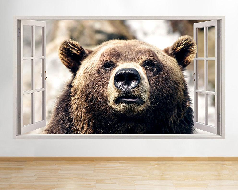 ADESIVI Da Da Da Parete Marronee Orso Grizzly camera da letto Decalcomania Finestra 3D ARTE Vinile Camera C746 365f07