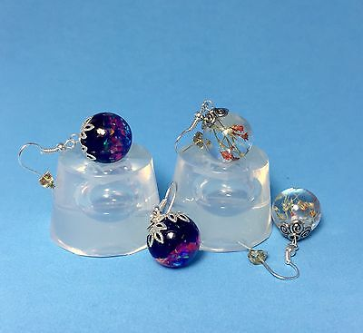 ALAMOULD CLEAR SILICONE MOLD, (MP090), TWO SPHERE BALLS EARRINGS OR PENDANTS