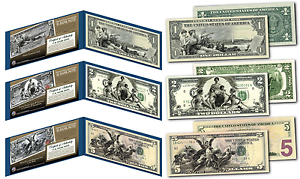 EDUCATIONAL-SERIES-1896-Designed-NEW-Legal-Tender-Bills-1-2-5-Set-of-all-3