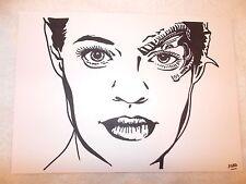 A4 Black Ink Marker Pen Sketch Drawing Jeri Ryan as Seven of Nine Star Trek B