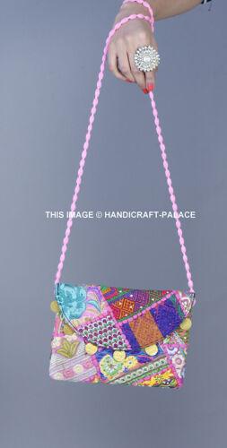 INDIAN  EMBROIDERED PATCHWORK CLUTCH BAG GYPSY BANJARA CLUTCH BAG CROSS BODY BAG