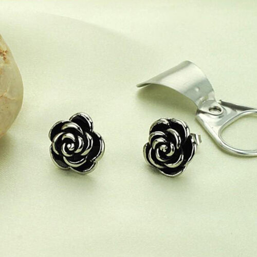 Black oil Silver Yellow Gold GP Flower Surgical Stainless Steel Stud Earrings