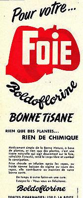 Boldoflorine 31.5 Cm X 12.5 Cm Relieving Heat And Thirst. Smart Publicite Ancienne Authentique De 1956