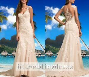 New-Lace-Mermaid-Beach-Bridal-Gown-Wedding-Dress-Custom-Size-6-8-10-12-14-16-18
