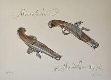 Gouache originale de Lorain - Pistolet de Maréchaussée modèle 1770 - Militaria