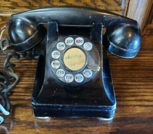 VINTAGE-ANTIQUE-ROTARY-BLACK-DESK-PHONE