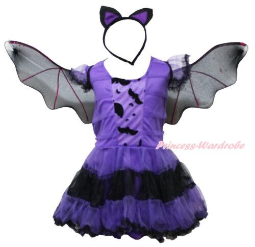 Halloween Dark Purple Bat Short Sleeves One Piece Dress Girl Kids Costume 4-14Y