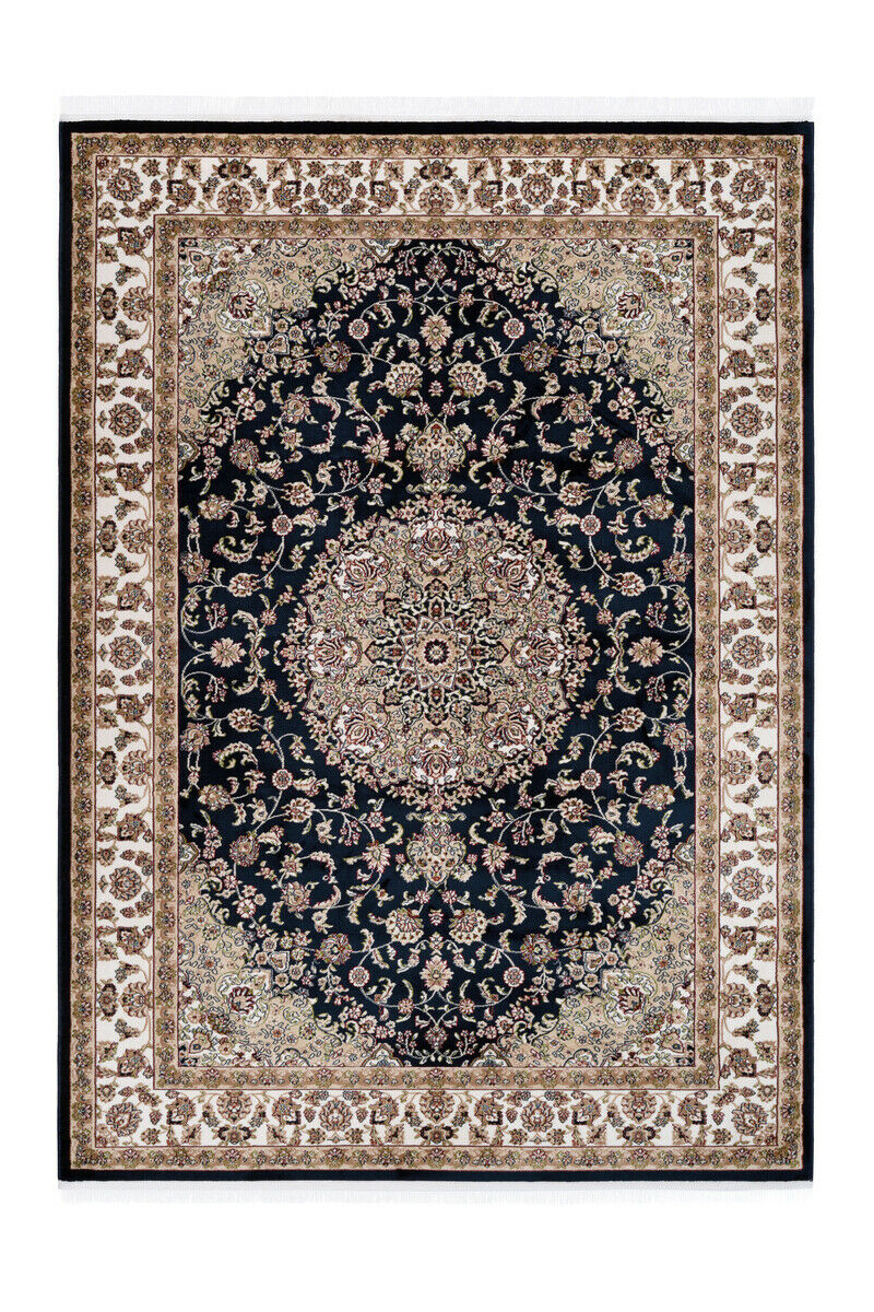 Oriental Franges Tapis Fioritures Ornement Noir Beige 200x290cm