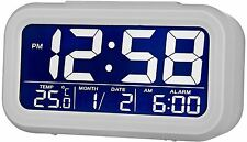 Acctim Meto Multifunction Smartlite LCD Digital Alarm Clock in Mist White
