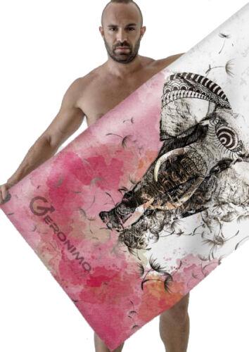 Geronimo Large Cotton Microfiber Beach Bath Towel Sports Travel Gym Elephant