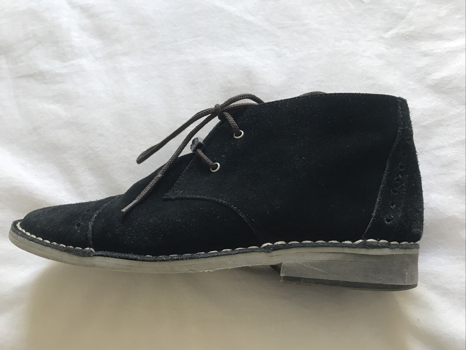 Size 4/37 Black Suede Desert Boots/Laces/Leather Flat Brogues/Ankle/Ladies/Girls