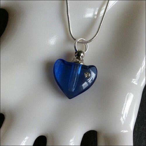 Crystal Ashes Urn Necklace Hearts Cremation Jewellery Keepsake Memorial