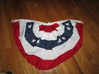 Red White & Blue Pleated Bunting Flag Fan - 1.5 Feet By 3 Feet Poly Cotton Small