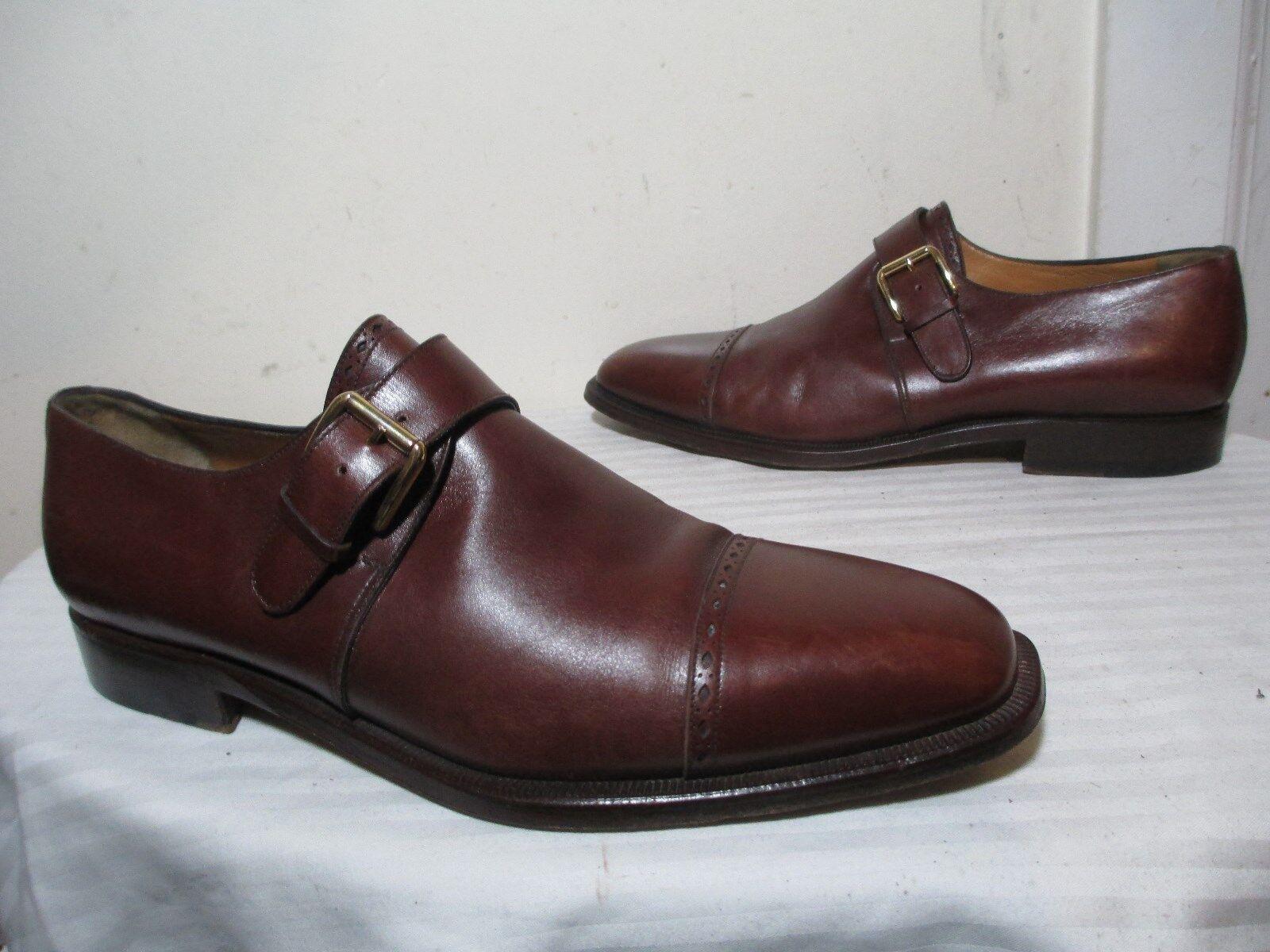 Zapatos De Vestir hombre Cuero Marrón BRUGNOLI Monje Correa perforado Puntera 9 US 10.5